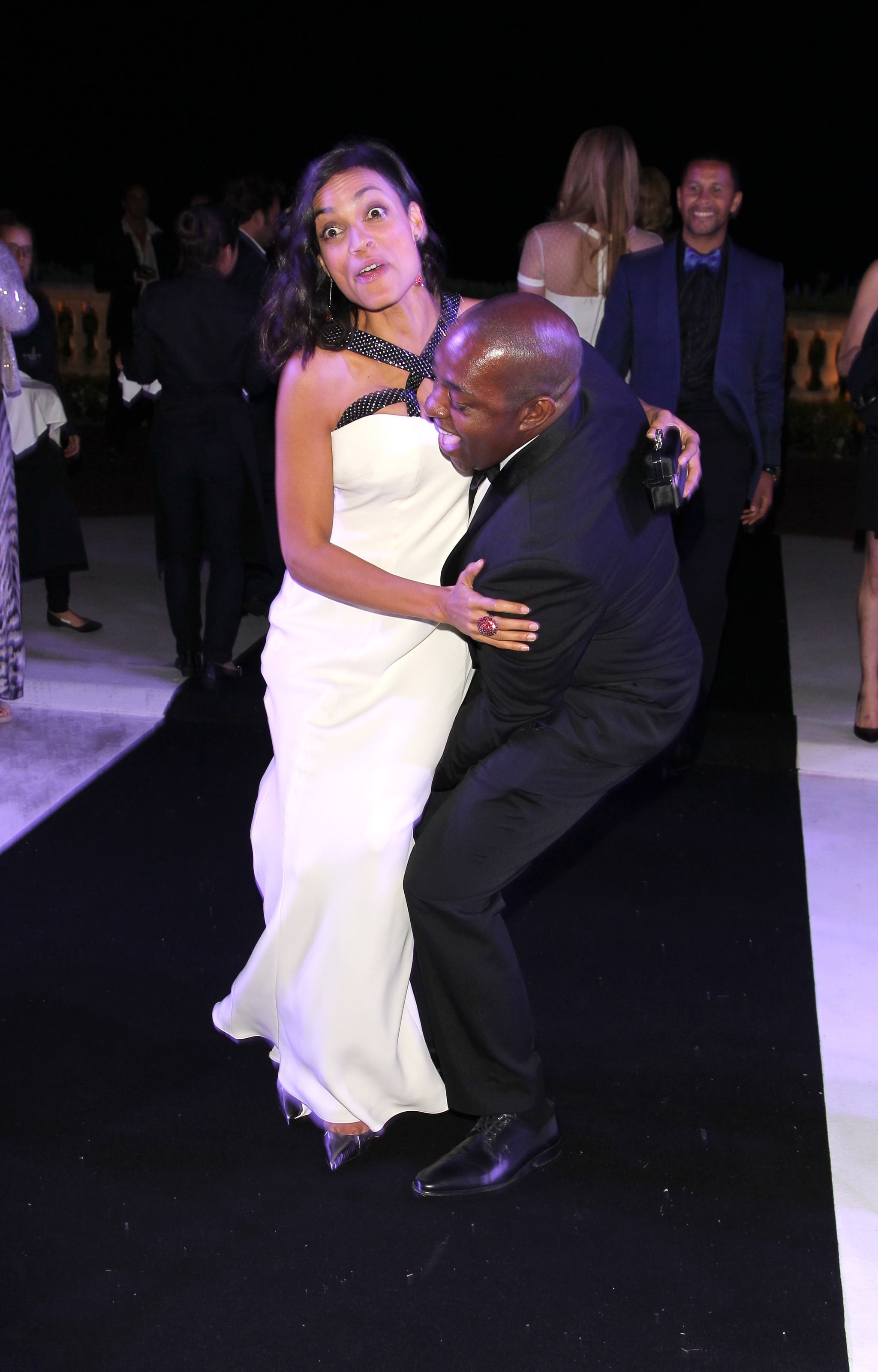 Rosario Dawson had a silly moment with a friend on the dance floor.