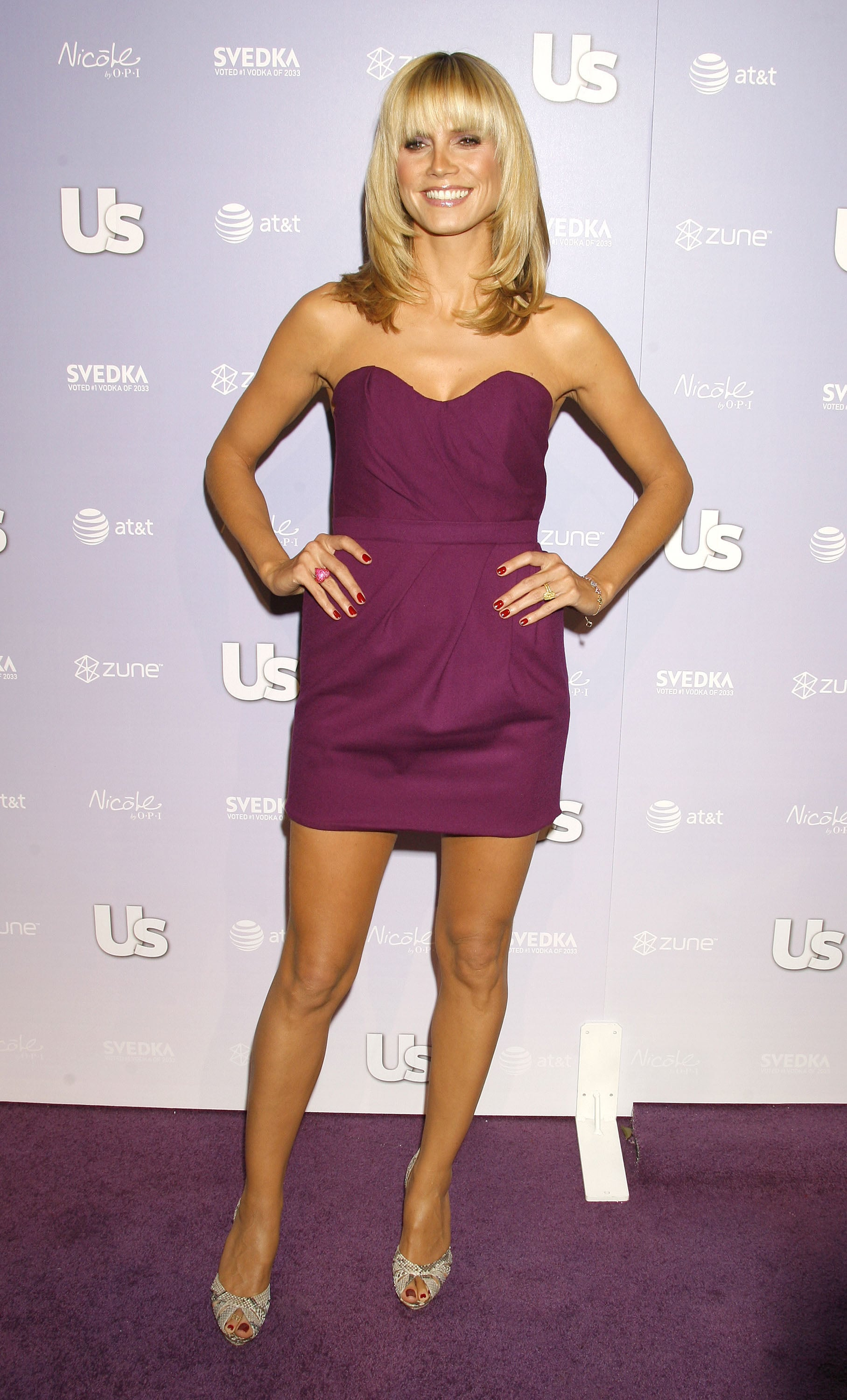 Heidi Klum in a Purple Strapless Mini at Us Weekly's 2008 Hot Hollywood Party