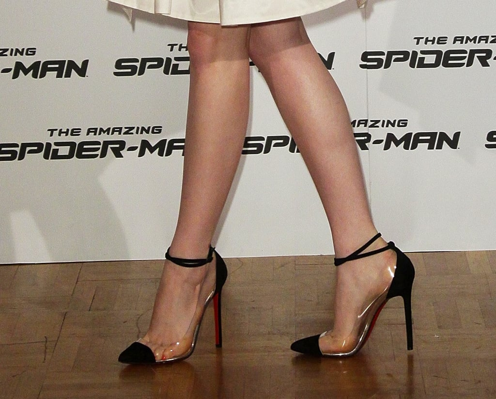 Hello, cap-toe perfection! We love that she rocked these perspex-spliced Christian Louboutin ankle-strap pumps with her LWD in Rome.