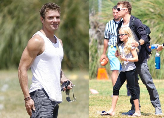 Pictures of Ryan Phillippe Showing Skin at Deacon's Flag Football Game; Quotes From His MacGruber Press Junket