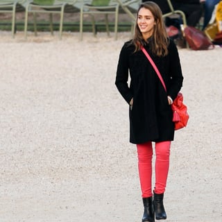 Jessica Alba Wears Pink and Green Pants in Paris