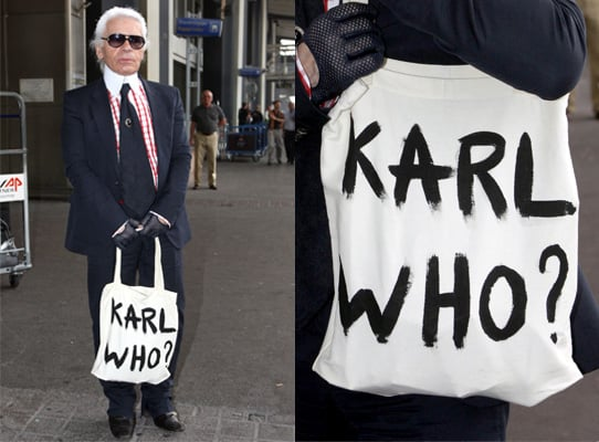 Photos of Karl Lagerfeld in Nice with Shopper Bag