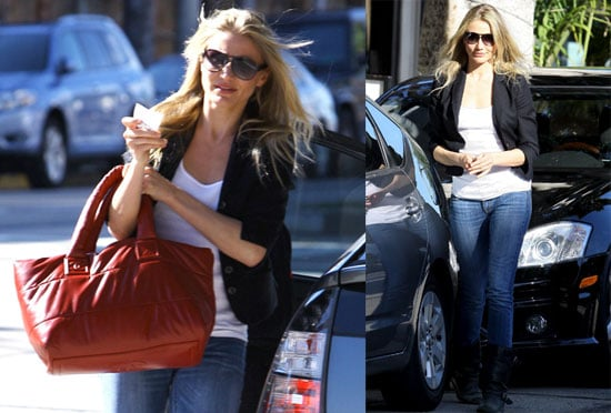 Photos of Cameron Diaz Leaving Madeo in LA With a Red Purse