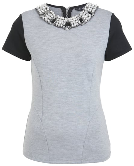 Miss Selfridge Grey and Black Top With Necklace