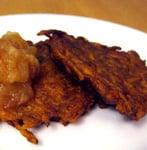 Curried Sweet Potato Latkes With Homemade Apple-Pear Sauce