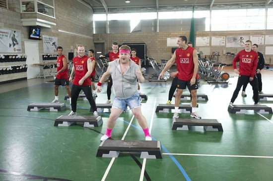 See Photos and Watch Video of James Corden as Gavin and Stacey Smithy Dancing With Manchester United Football Team Sport Relief