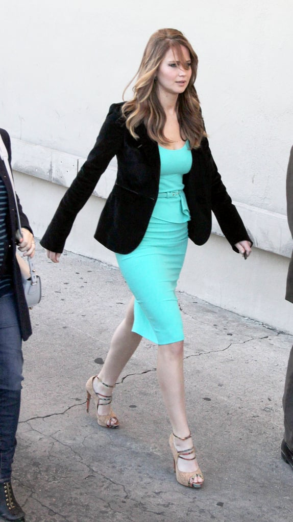 Jennifer Lawrence continued her style streak in a ladylike, turquoise-hued sheath.