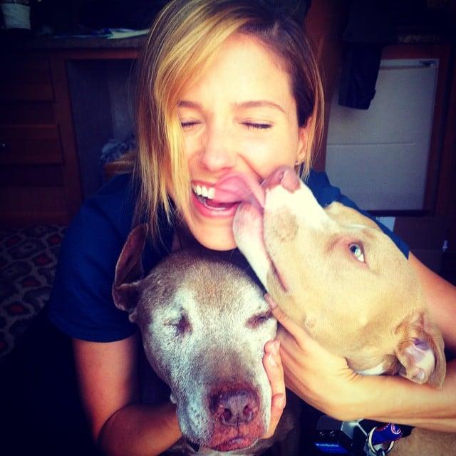 Sophia Bush's pups gave her kisses for National Dog Day.  Source: Instagram user sophiabush