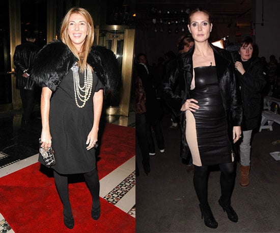 Both ladies love black, but Nina goes with fur, while Heidi does leather.