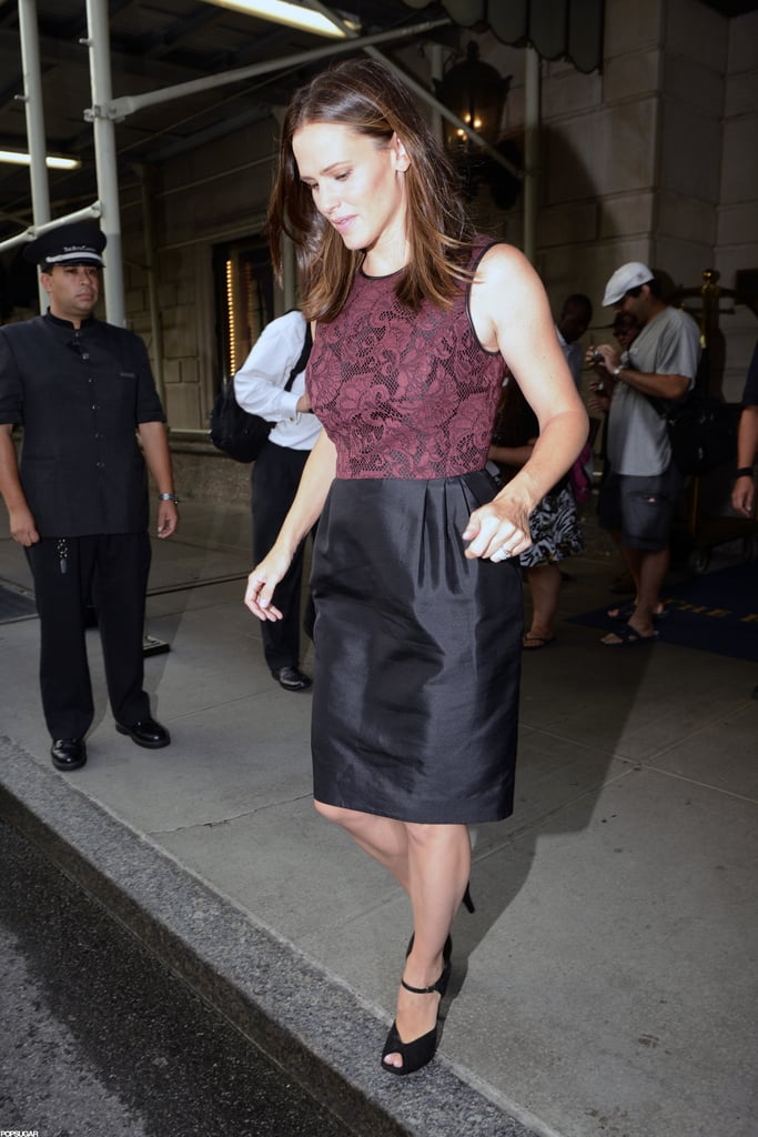 Jennifer Garner got into a car waiting for her outside of her hotel in NYC.