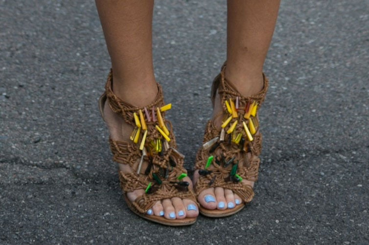 Tribal-feeling heels could upgrade any ensemble with their unique woven accents and bold pops of color. Source: IMAXtree
