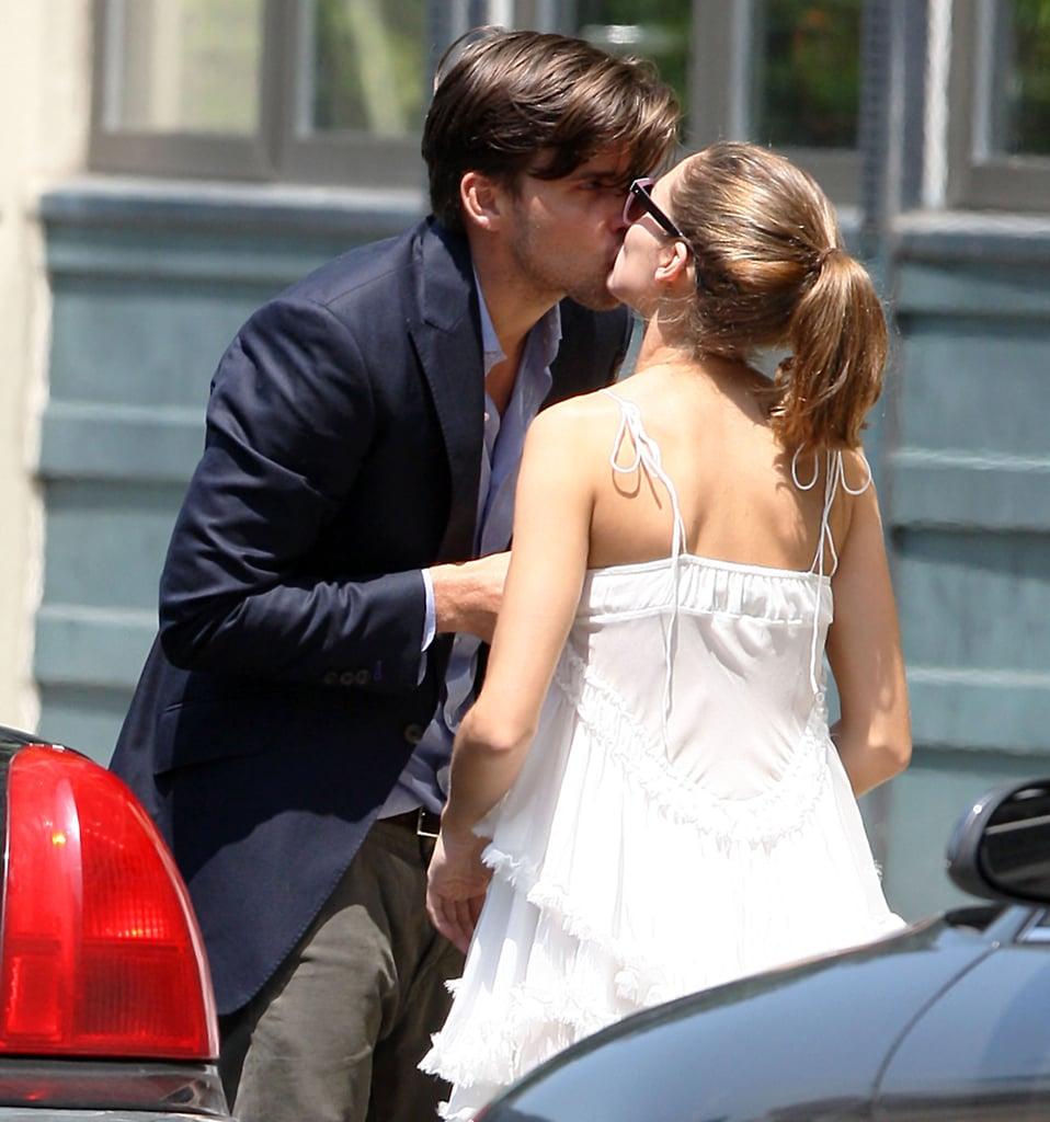 Olivia Palermo gave boyfriend Johannes Huebl a goodbye kiss in NYC in May 2012.