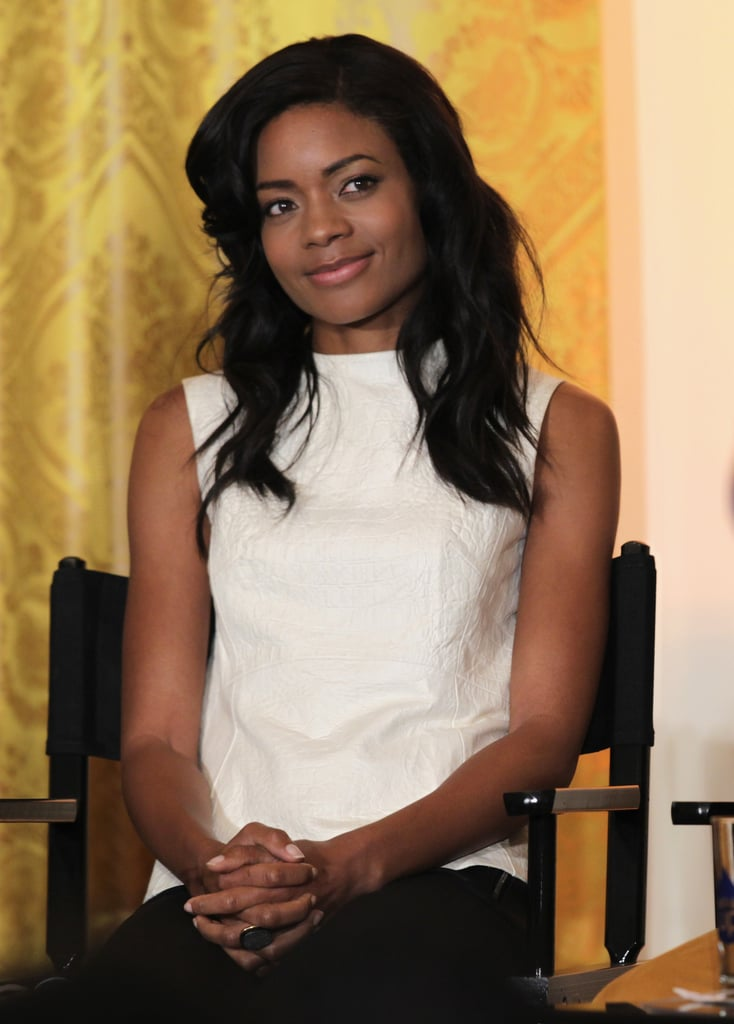 Actress Naomie Harris sat on stage to participate in the workshop.