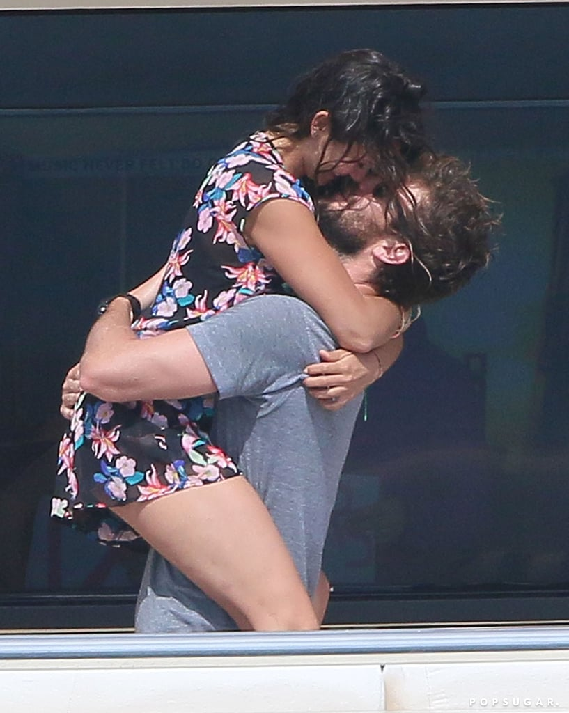 Nina Dobrev straddled boyfriend Austin Stowell during a day on a yacht in Monaco in July 2015.