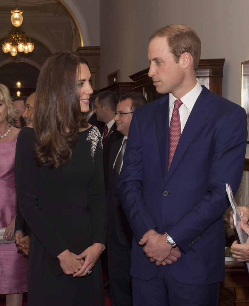 Kate and William shared a private moment when they attended an art unveiling of a portrait of Queen Elizabeth II at Government House in Wellington in April 2014.