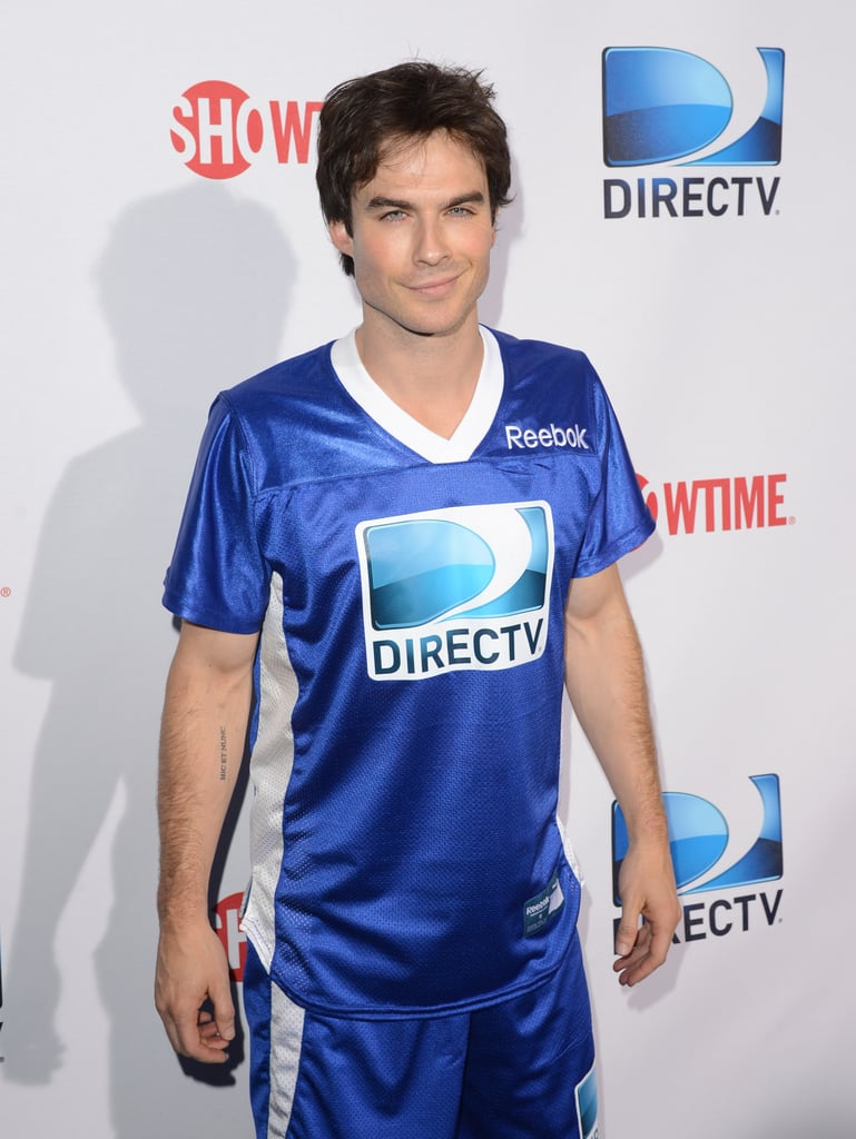 Ian Somerhalder looked handsome in his jersey before playing in the 7th Annual Celebrity Beach Bowl game on Saturday.