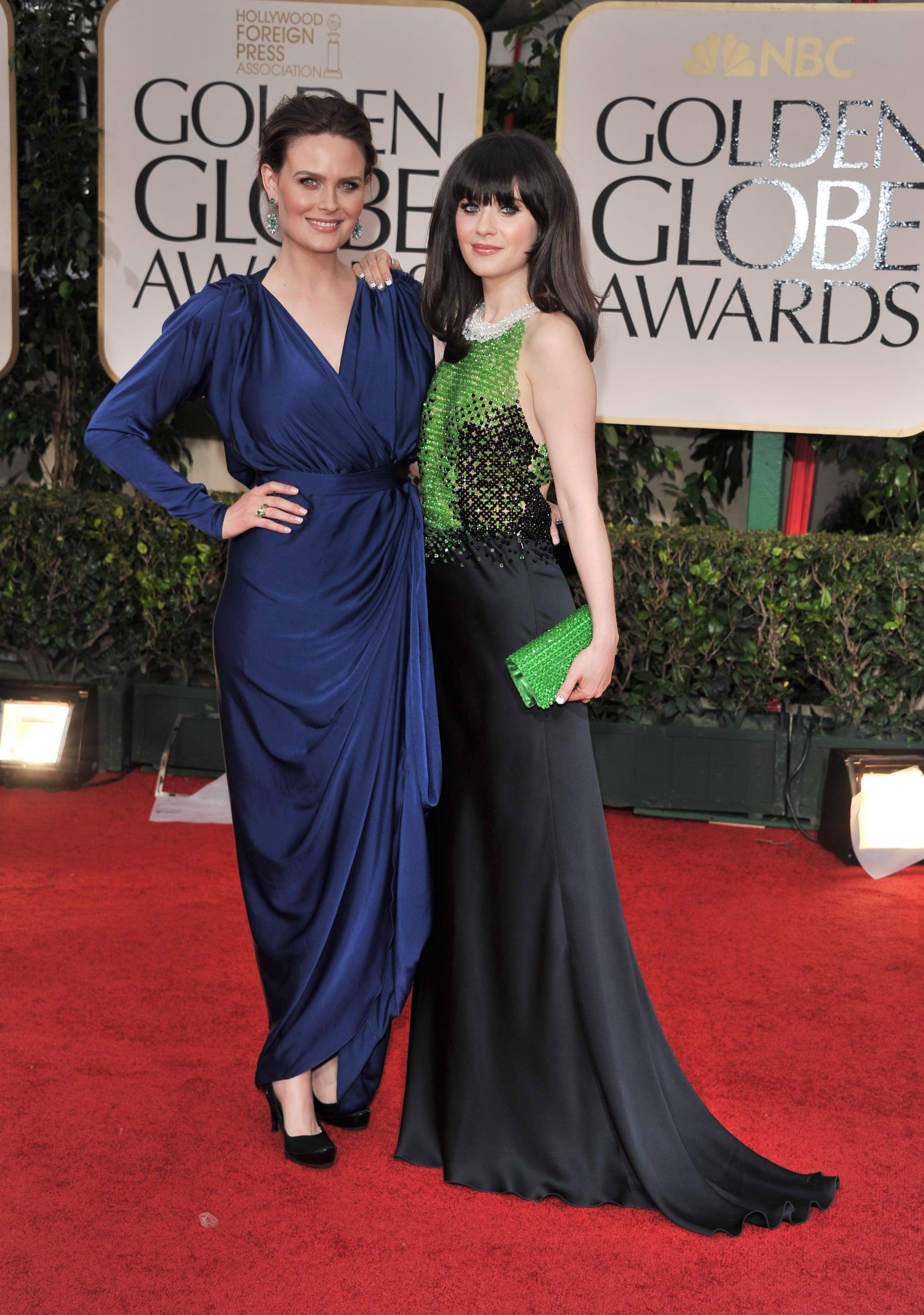 Emily Deschanel posed with her sister Zooey Deschanel in 2012.