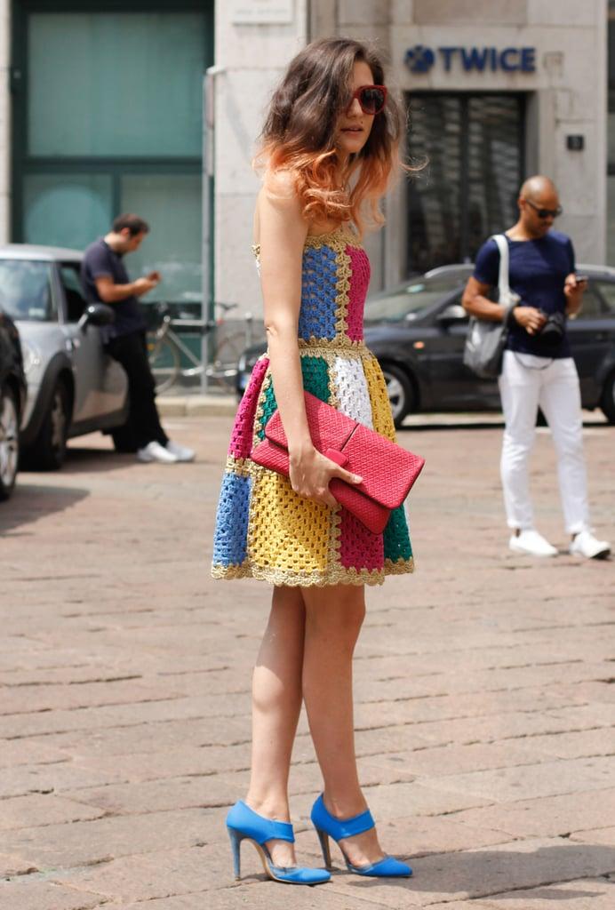 Megawatt color inspires major inspiration — especially on a sweet, crochet strapless.