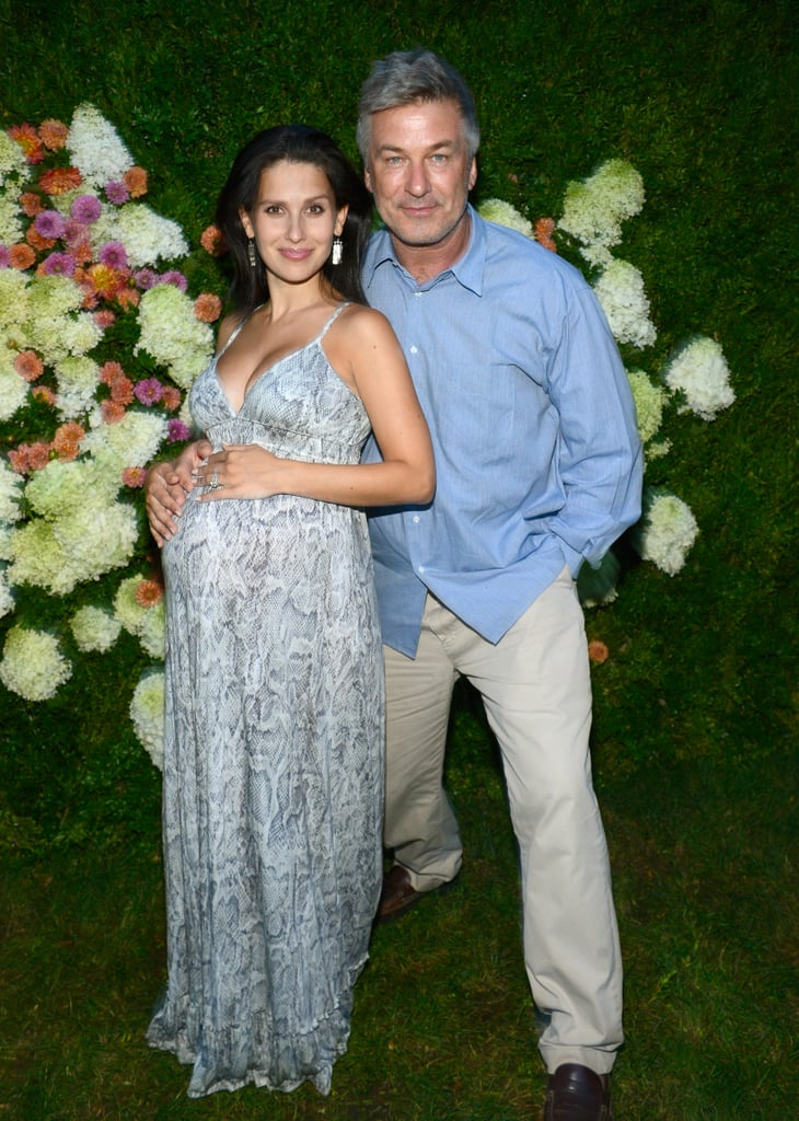 Alec Baldwin posed on the grassy carpet with Hilaria Baldwin.