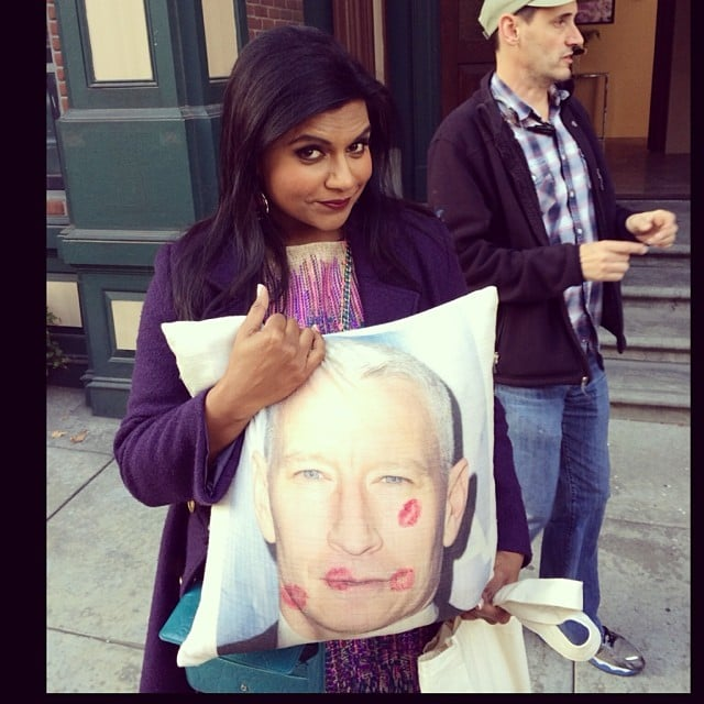 Mindy Kaling showed off a smooch-covered Anderson Cooper pillow. Source: Instagram user mindykaling