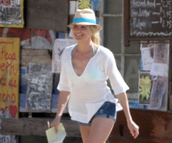 Slide Photo of Cameron Diaz on the Set of Knight and Day in Malibu Wearing Denim Shorts