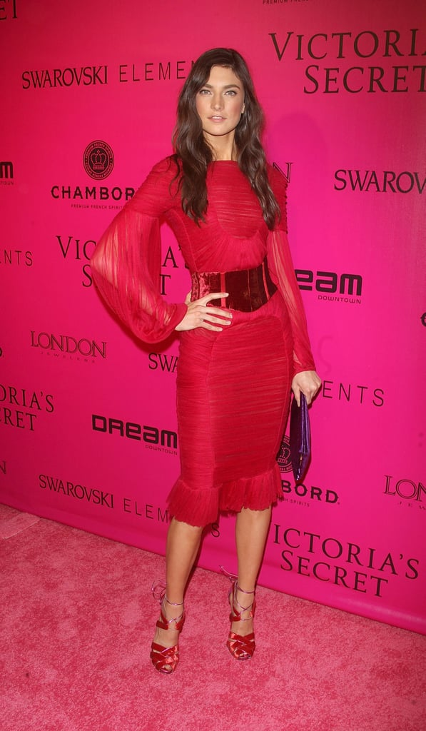 Jacquelyn Jablonski on the pink carpet at the Victoria's Secret Fashion Show afterparty.