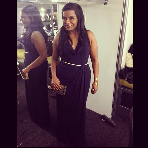 Midnight blue was the winning color for Mindy Kaling before the SAG Awards. Source: Instagram user mindykaling