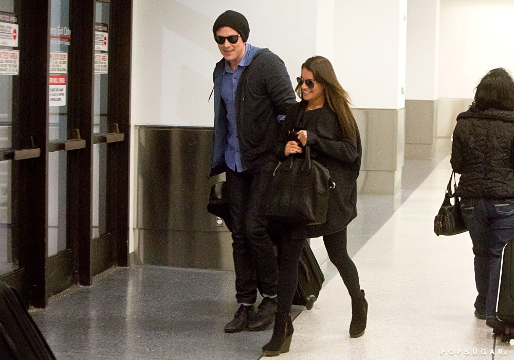 Lea Michele and Cory Monteith smiled as they made their way through LAX.