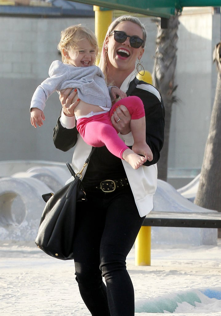 Pink and her husband Cary Hart took their daughter, Willow, to a playground in Venice Beach on Sunday.