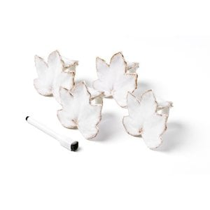 Mikasa Countryside Harvest Leaf Napkin Rings with Write-On Pen ($30 For 4)