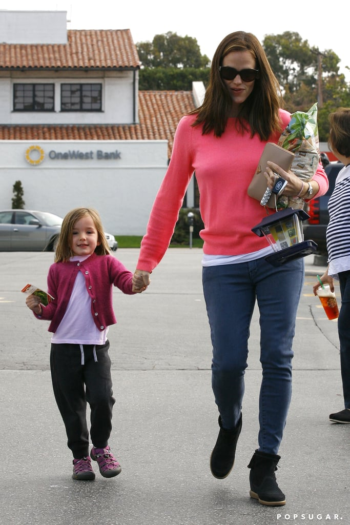 Jennifer Garner and Seraphina Affleck matched in pink sweaters while running errands in LA together in April 2013.