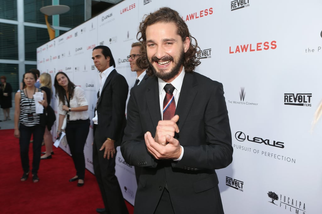 Shia LaBeouf laughed on the red carpet.
