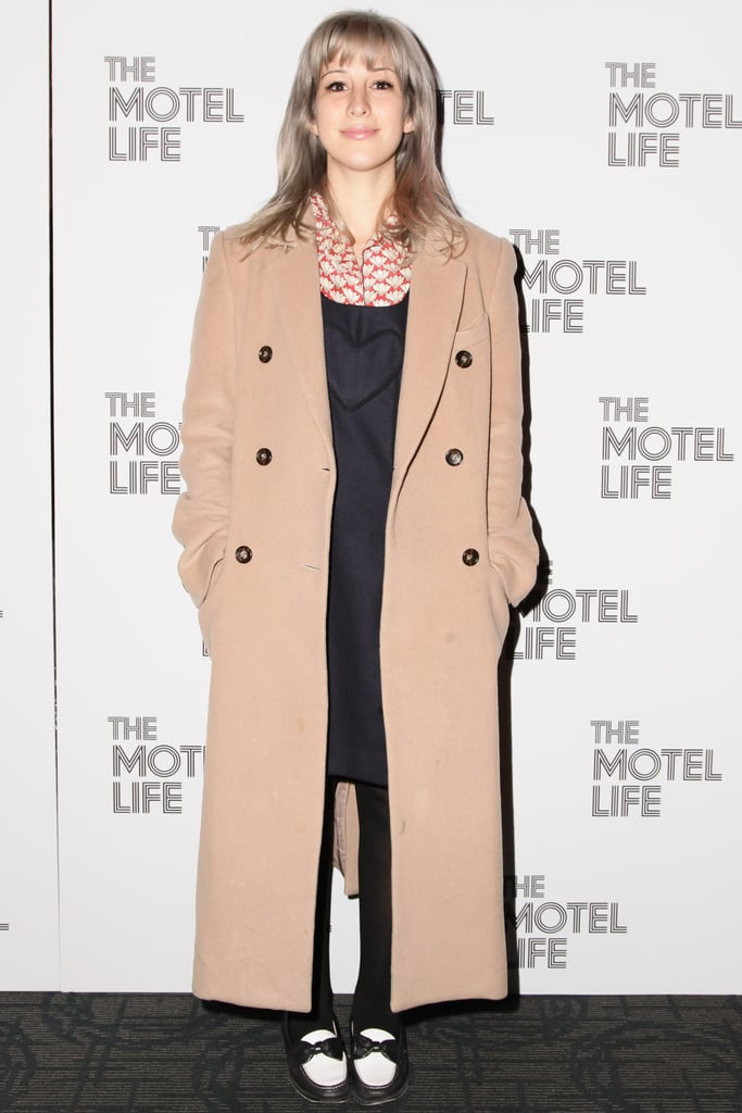 Rachel Antonoff topped her preppy style with a camel coat at the New York screening of The Motel Life.