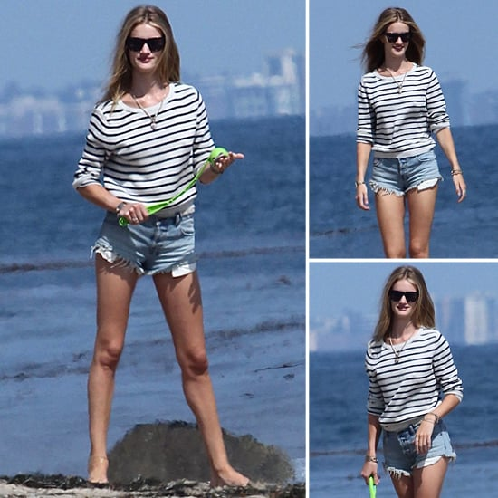 Rosie Huntington-Whiteley Striped Sweater and Shorts