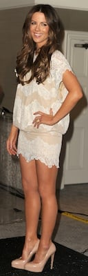 Kate Beckinsale in Lace Tadashi Dress, Brian Atwood Pumps