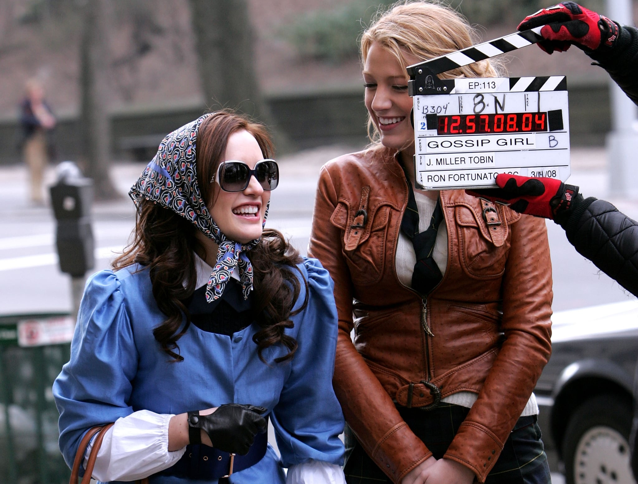 Despite wearing a disguise, Leighton Meester sported a bright smile that gave her away during a March 2008 shoot in NYC.