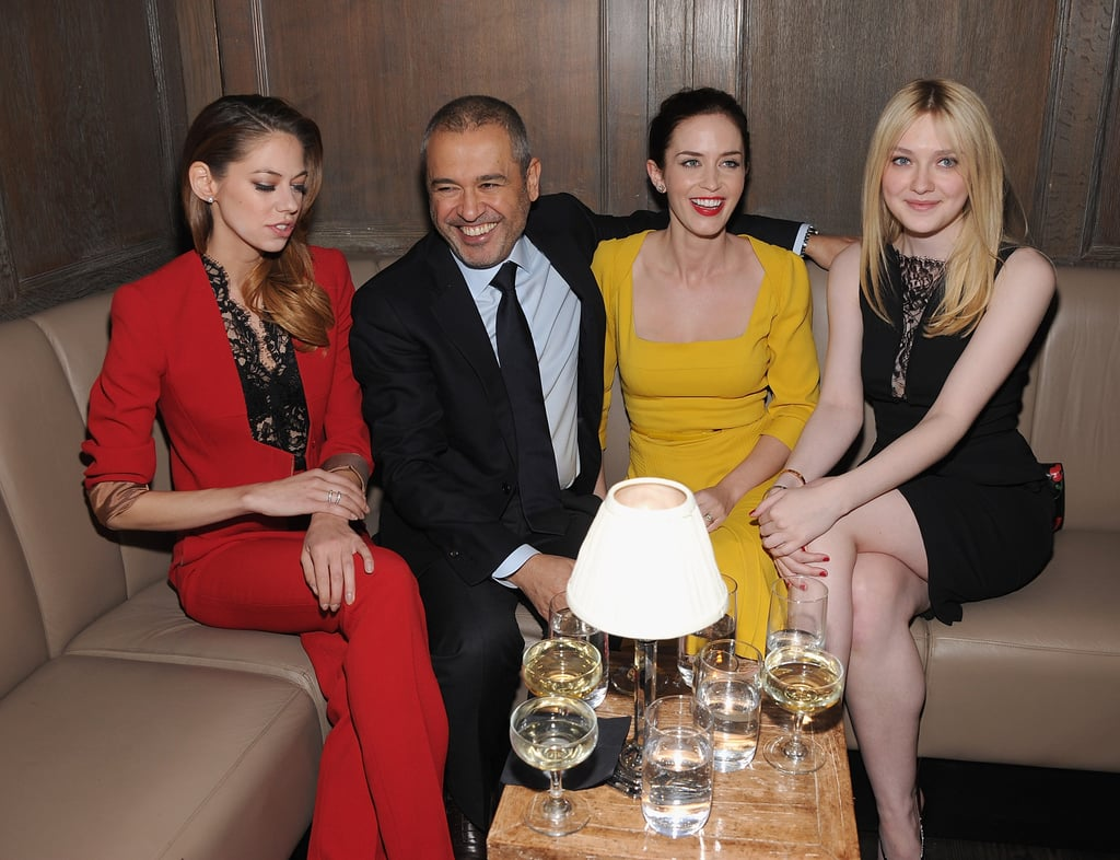Analeigh Tipton, Elie Saab, Emily Blunt, and Dakota Fanning had a laugh at the Elie Saab private dinner in NYC.