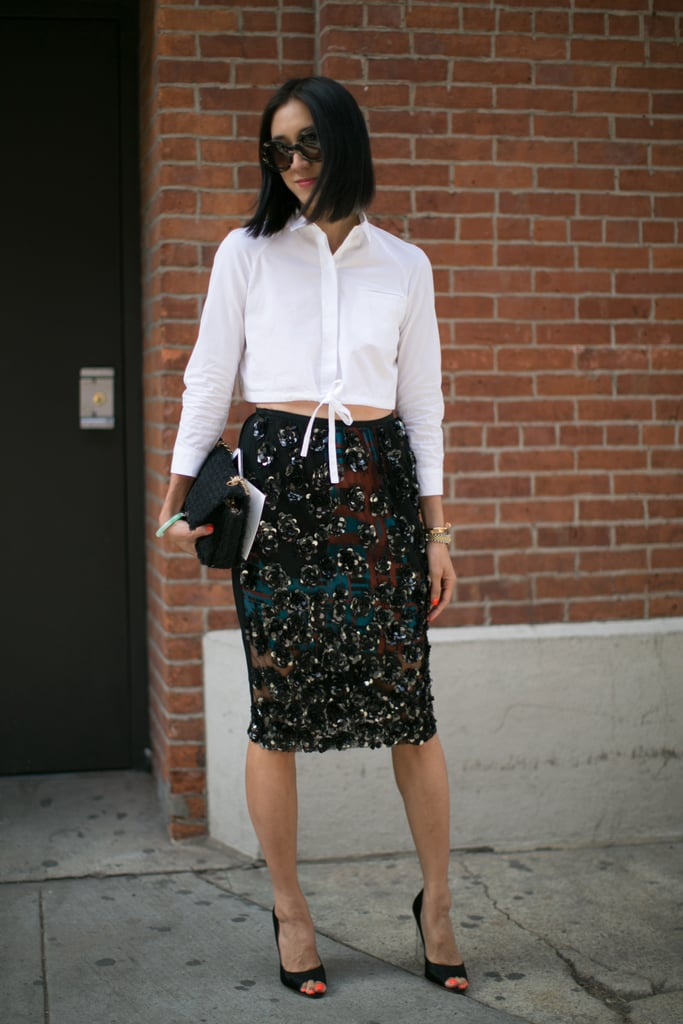 Eva Chen was all dressed up in a sequined skirt and crop top.