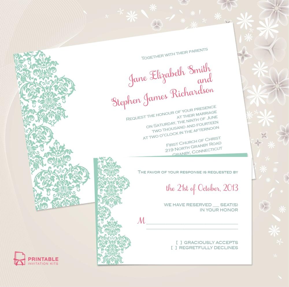 Damask Border Wedding Invitation