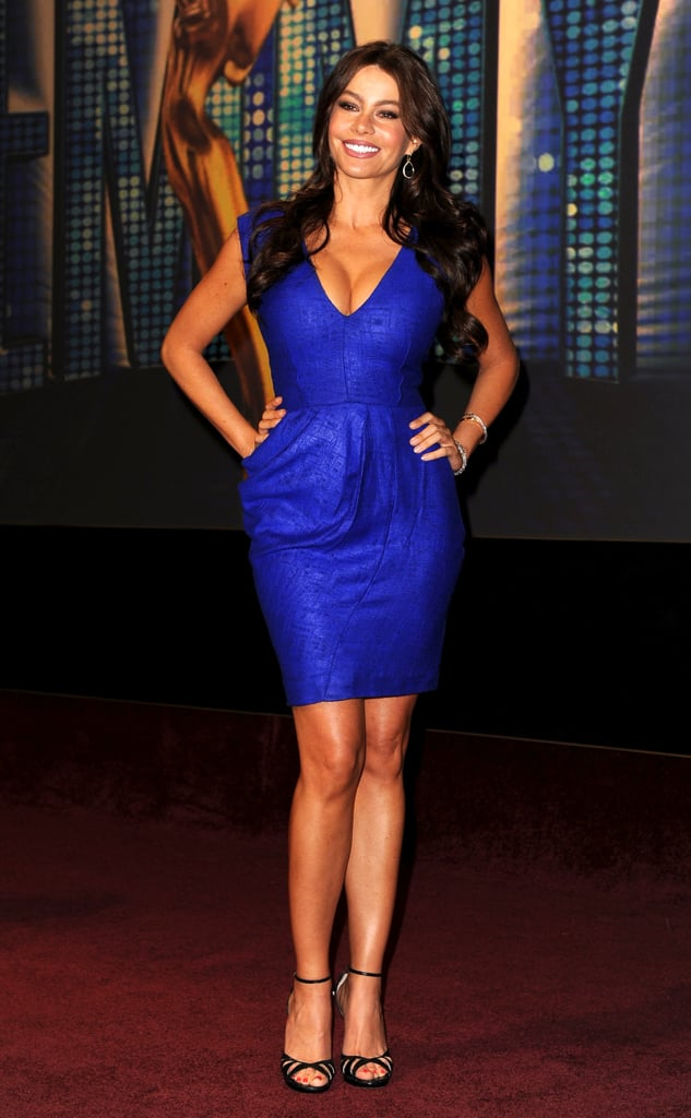 The brunette showstopper electrified the 62nd Emmy Awards nomination announcements in a brilliant blue Lele Rose minidress and strappy black sandals.