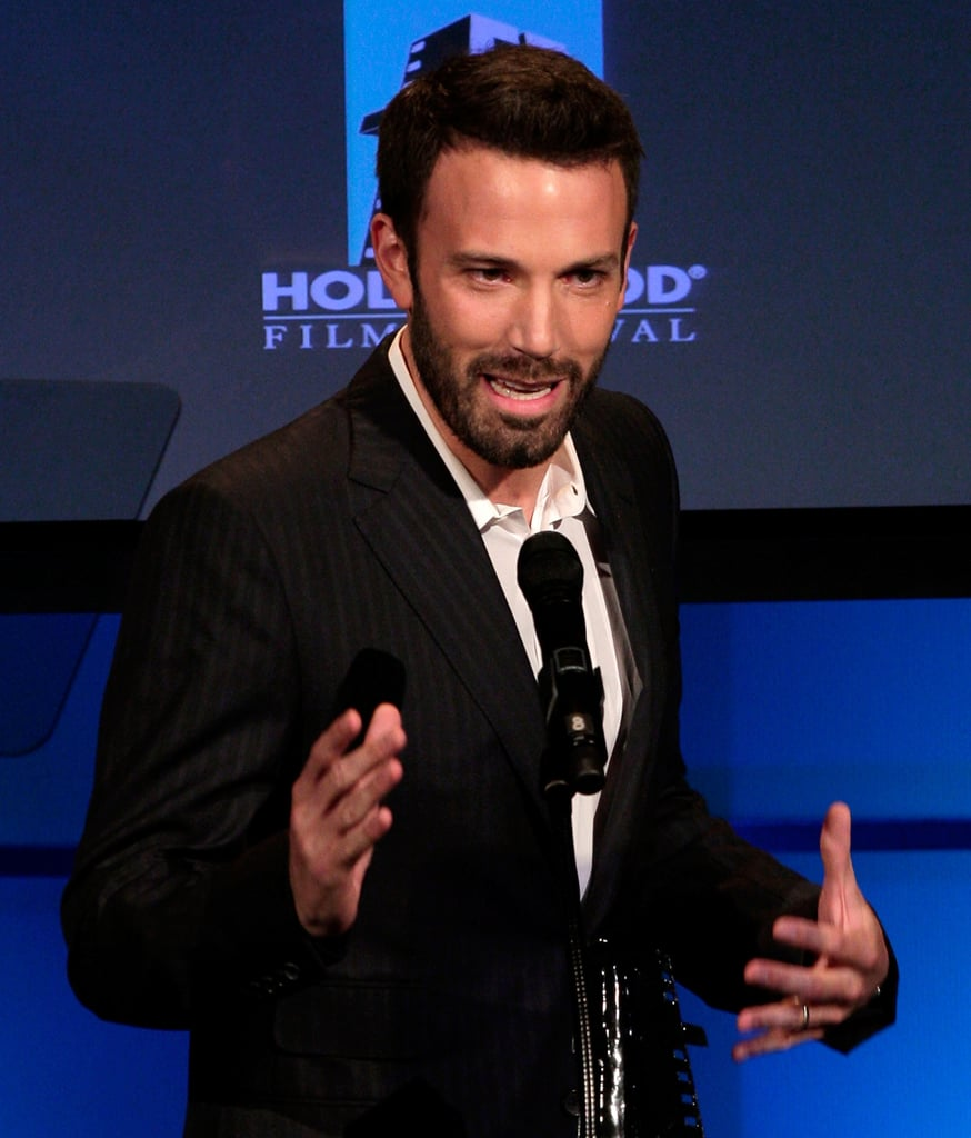 Ben Affleck got animated during his acceptance speech for breakthrough director at the October 2007 Hollywood Awards in LA.