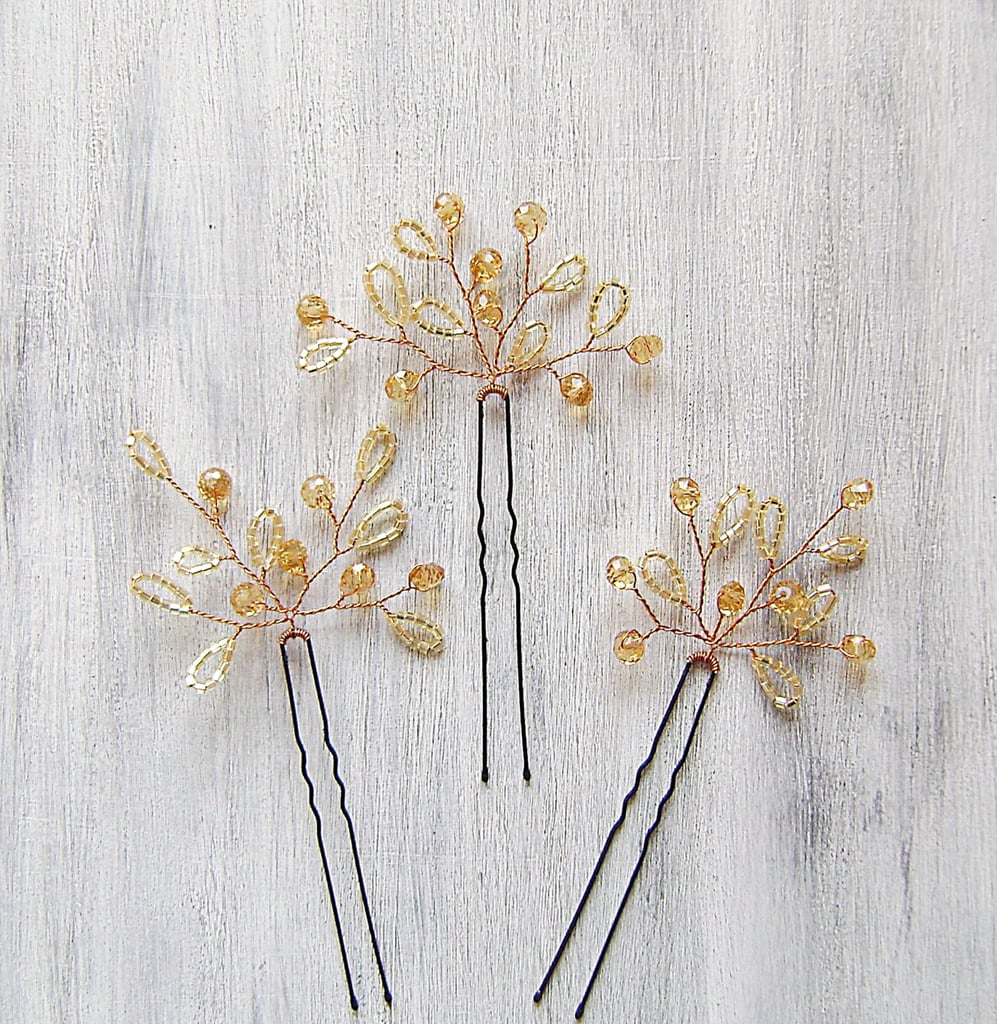 These beaded hair pins ($17) would work well for a Fall wedding.