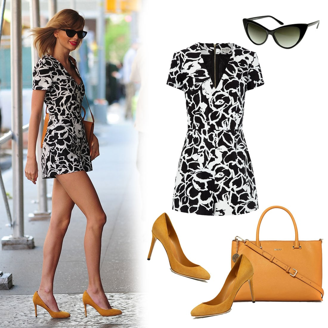 . . . So we shopped it out with the exact Suno romper and a great pair of classic Gucci heels. Of course, if you're looking for budget-friendly alternatives, we've got those right below, too. Shop the look:  Cat Eye zerouv Hot Tip Pointed Vintage Sunglasses ($10) Suno Floral Strokes Textured Playsuit ($650) Gucci Suede Pump ($635) DKNY Saffiano Tan Medium Tote Bag ($362)