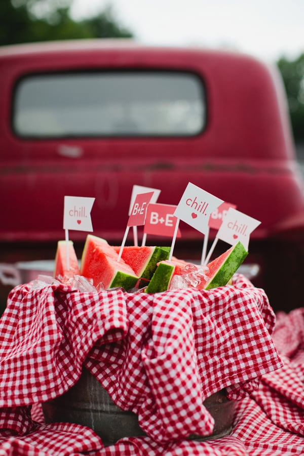 Gingham-Lined Watermelon Bucket