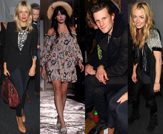 Pictures of Celebrities Including Sienna Miller, Matt Smith and Daisy Lowe, Cat Deeley, Pregnant Rachel Stevens At Fashion Week