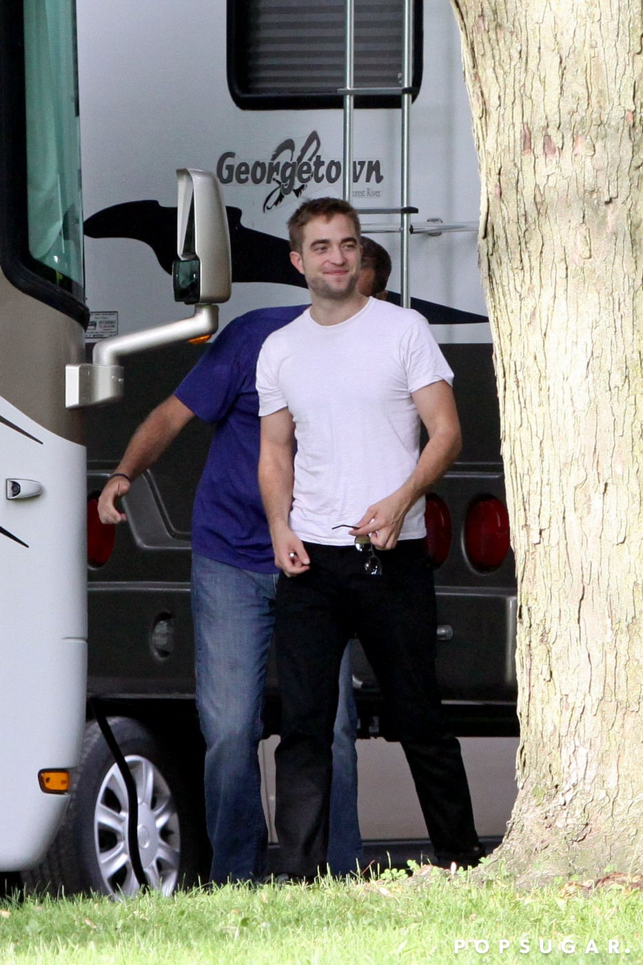 Robert Pattinson was all smiles as he reported to work the set of his film Maps to the Stars in Toronto, Canada.