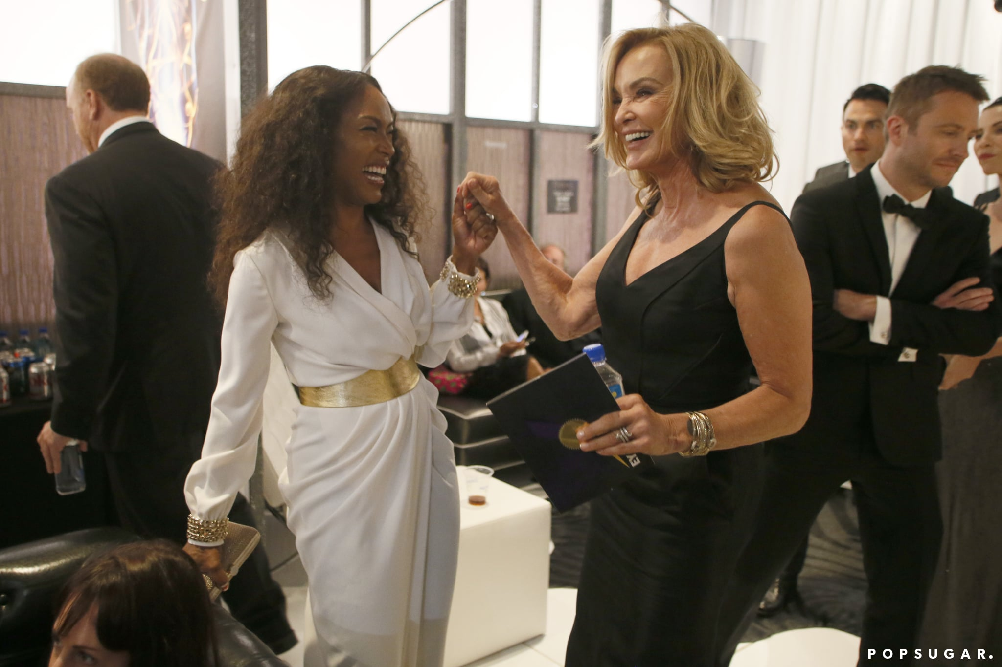 Angela Bassett and Jessica Lange exchanged smiles.