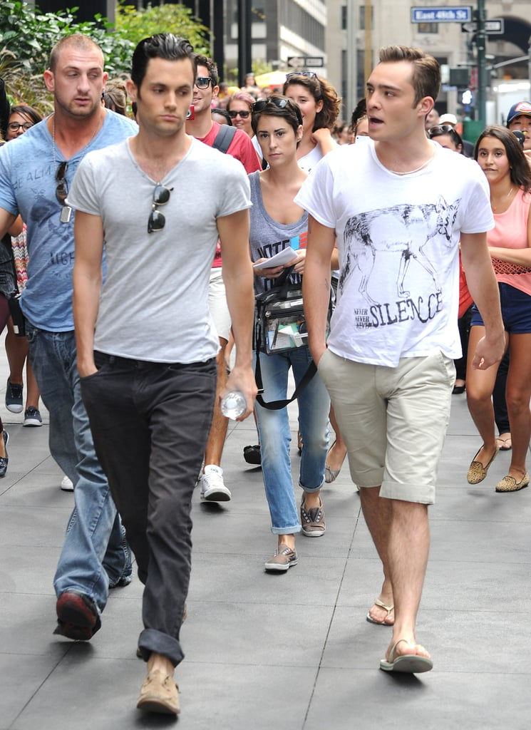 Ed Westwick and Penn Badgley were together on set.