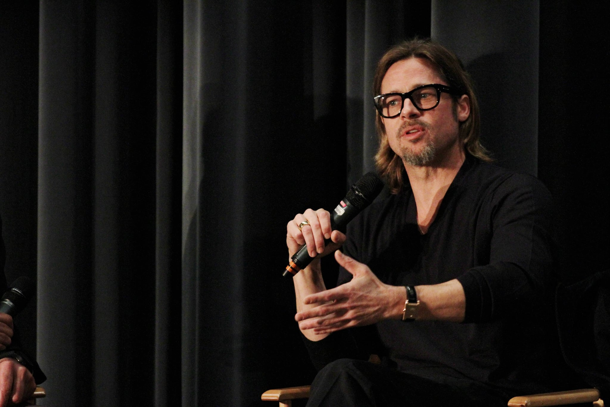Brad Pitt answered questions about Moneyball following an LA screening.