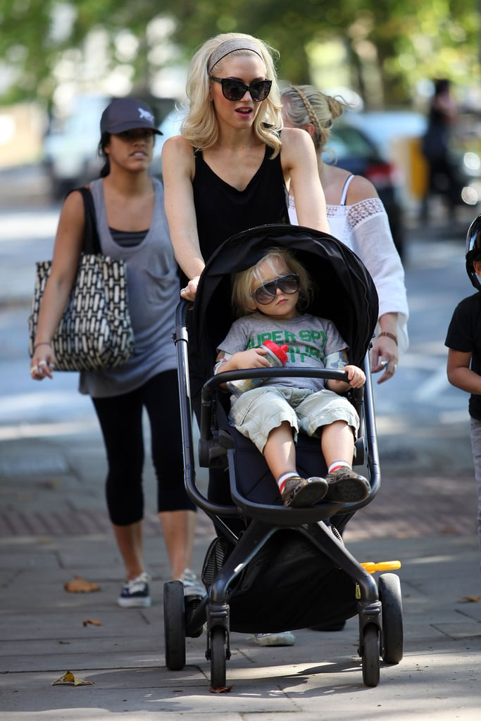 Gwen Stefani pushes Zuma in a stroller in London.